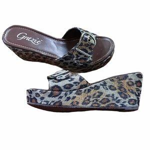 Grazie animal print platform sandals | Size 8.5